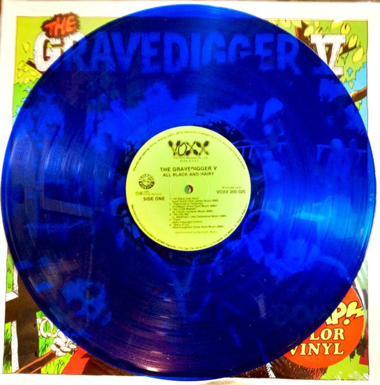 GRAVEDIGGER V -All Black & Hairy  (60 PEBBLES style Classic cave garage) BLUE VINYL LP