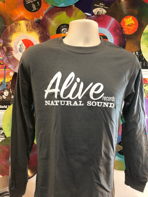 ALIVE LOGO on  CHARCOAL LONG SLEEVED T SHIRT