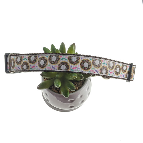 Donuts on white Martingale Collar W/Buckle (Large)