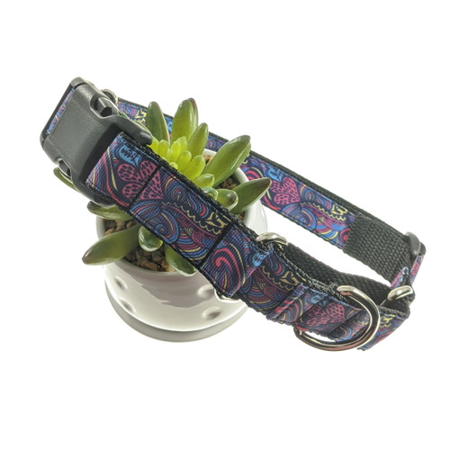 Heart Scrolls Martingale Collar W/Buckle (Large)