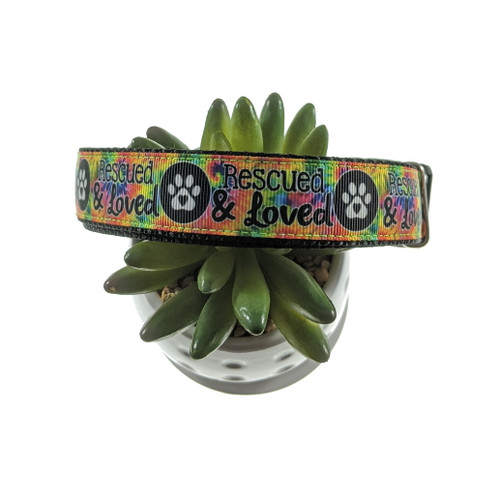 Rescued & Loved Tie-dye Dog Collar (Large)