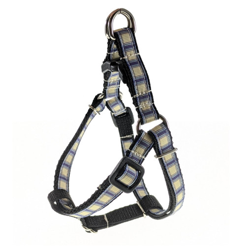 Blue Plaid Step-In Harness (X-Small)
