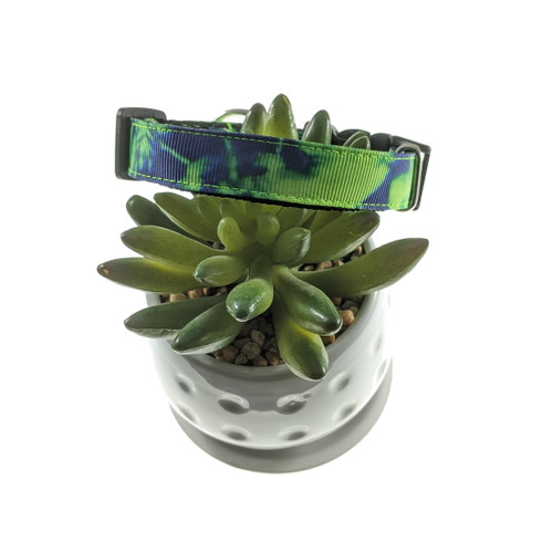 Lime & Blue Tie Dye Dog Collar (Small)