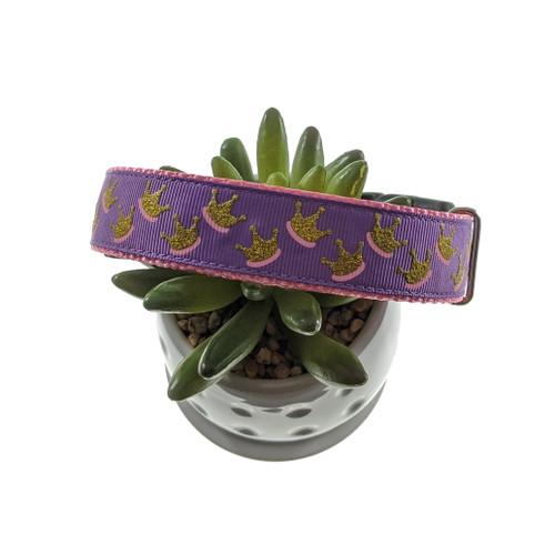 Crowns on Purple Dog collar (Large)