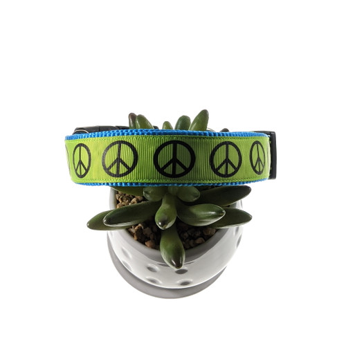 Peace Signs on Lime Dog Collar (Large)