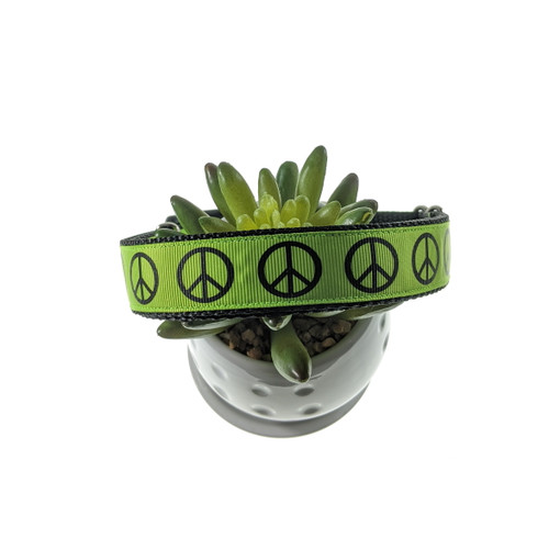 Peace on Lime Dog Collar (Large)
