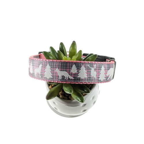 Pink/Gray Plaid with Animals & Trees dog collar (Large)