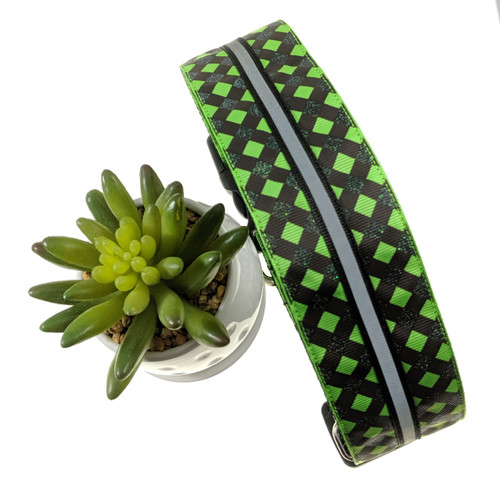 Green Plaid Reflective Dog collar inspired by Wicked the muscial