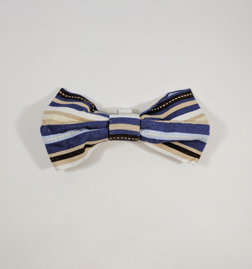 Blue and Tan Striped Bowtie - 5""