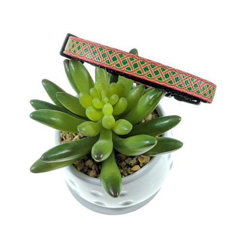 Green and Pink Celtic Dog Collar (XX-Small)