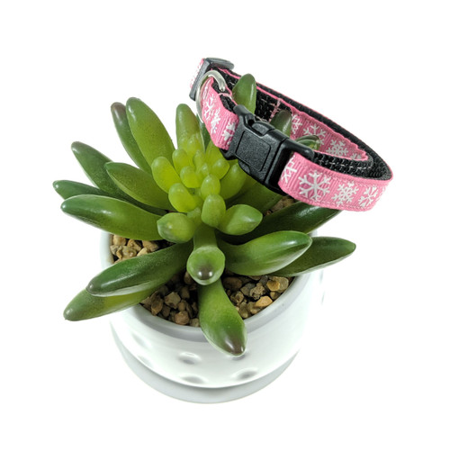 Pink with Snowflakes Dog Collar (XX-Small)