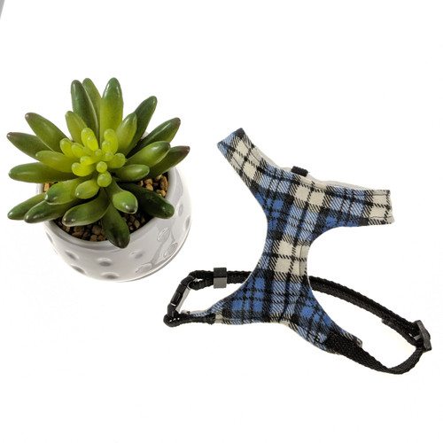 Blue & White Plaid Soft Harness Vest (X-Small)