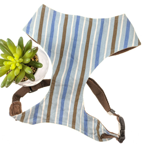 Blue and Brown Striped Soft Harness Vest (Large)