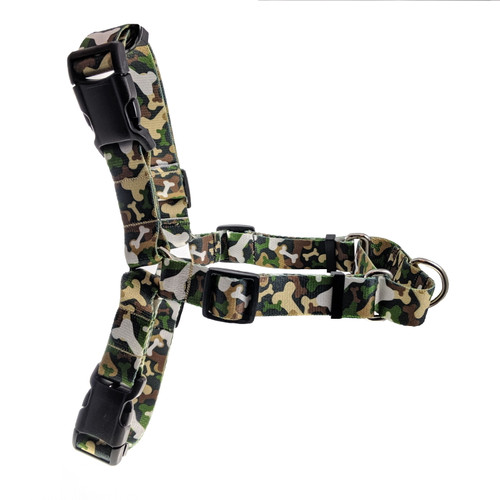 Camouflage Bones No Pull/Martingale Harness (L)