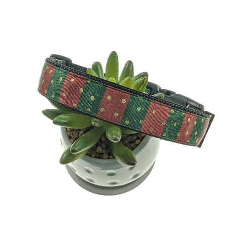 Red & Green Stripe Dog Collar (Large)