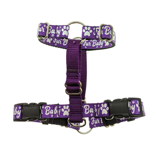 Fur Baby on Purple Double Clip Harness (Small)