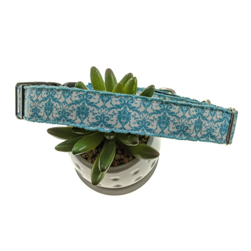 Blue Damask Martingale Collar W/Buckle (Large)