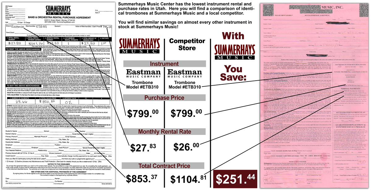 Summerhays Music Rental Contract for an Eastman student trombone compared to a local competitor showing a savings of $251.44
