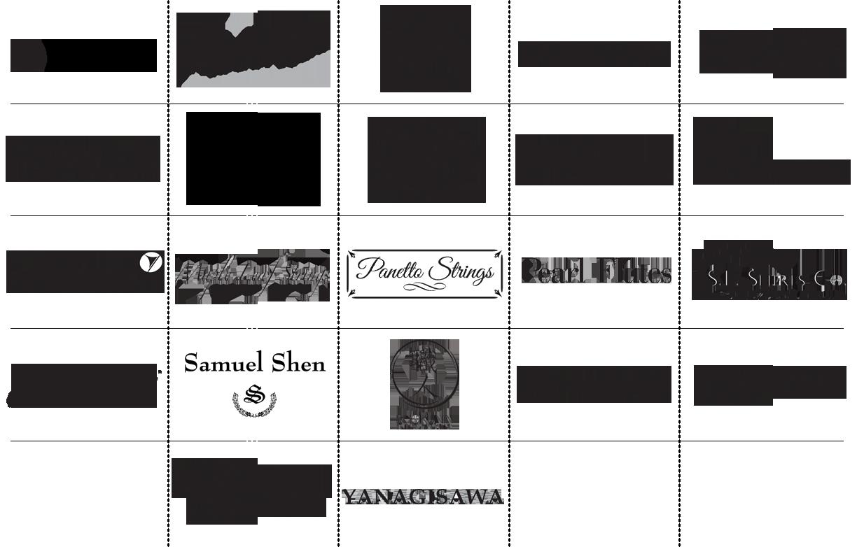 Yamama, Accent, Vincent Bach, Eastman Strings, Vito, Trevor James, WM.S. Haynes Co., Henri Selmer Paris, Conn & Selmer, King, Leblanc, Maple Leaf Strings, Panetto Strings, Pearl Flutes, S.E. Shires Co., Selmer, Samuel Shen, Shokunin select dealer, Gerhard Baier, C.G. Conn, Holton, Yanagisawa