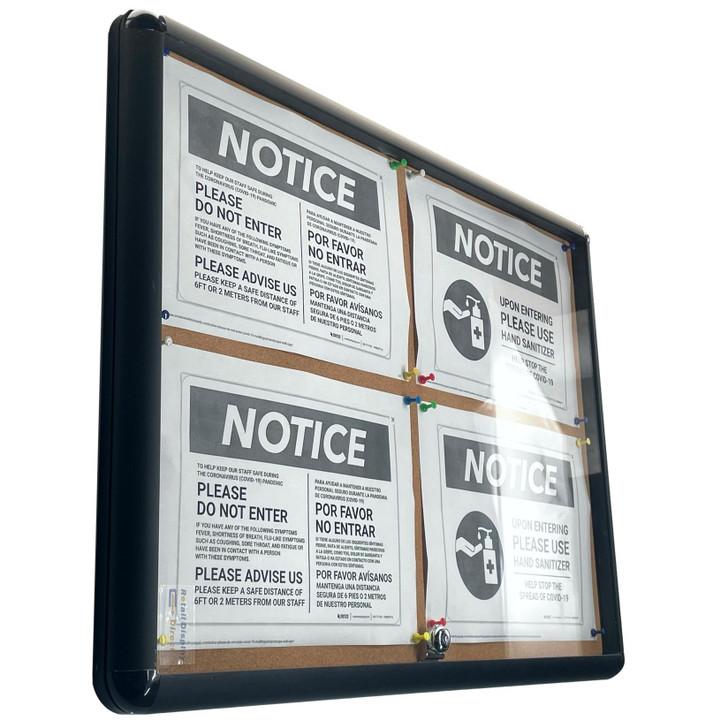 Enclosed Cork Board 4xA4 Indoor Black