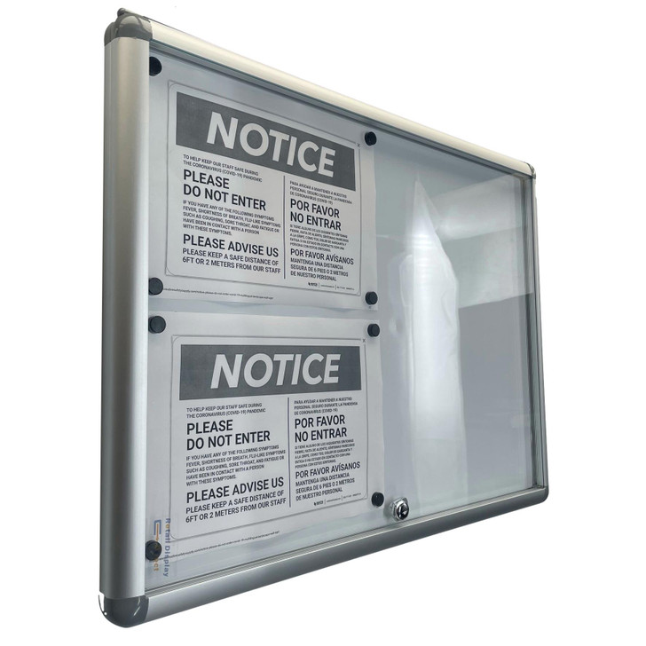 Lockable Notice Board 4xA4 Indoor Whiteboard