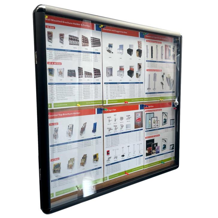 Enclosed Bulletin Board 6xA4 Indoor Black