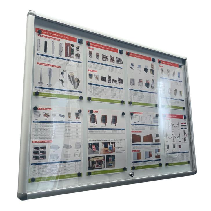 Lockable Notice board 8xA4 Indoor Whiteboard