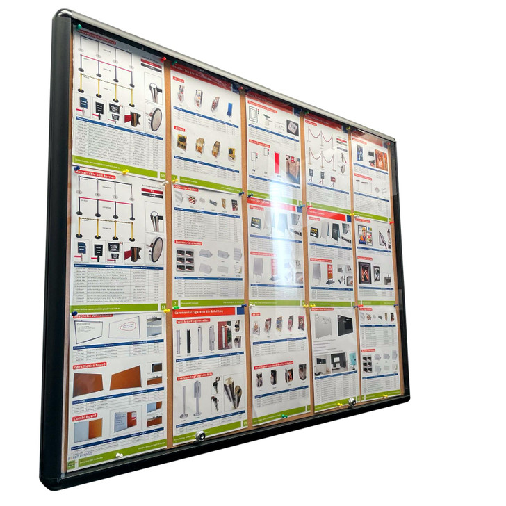 Notice Board Cabinets 15xA4 Indoor Black