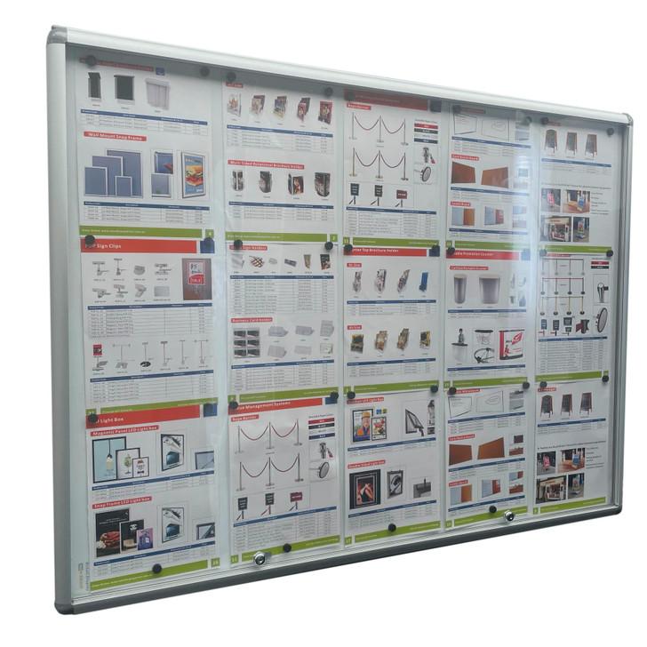 Lockable Notice board 15xA4 Indoor Whiteboard