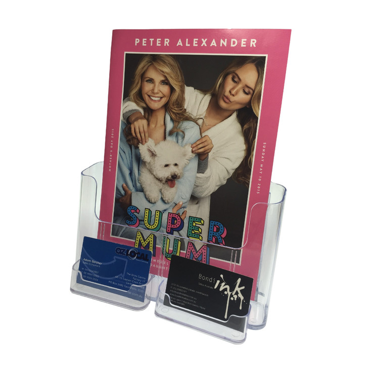 A4 Brochure Holder with business card holder