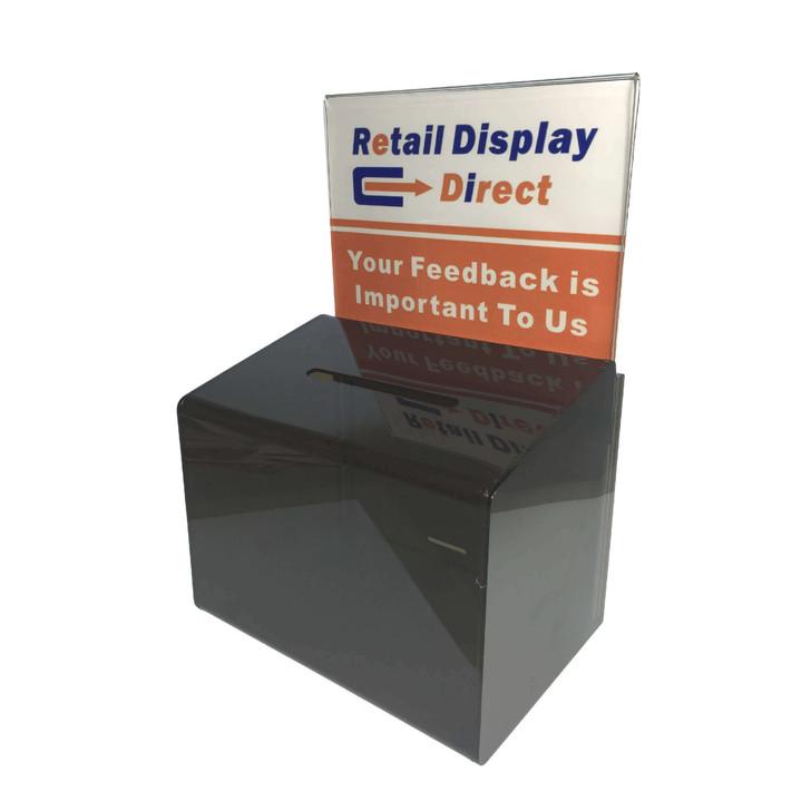 Dark acrylic donation box