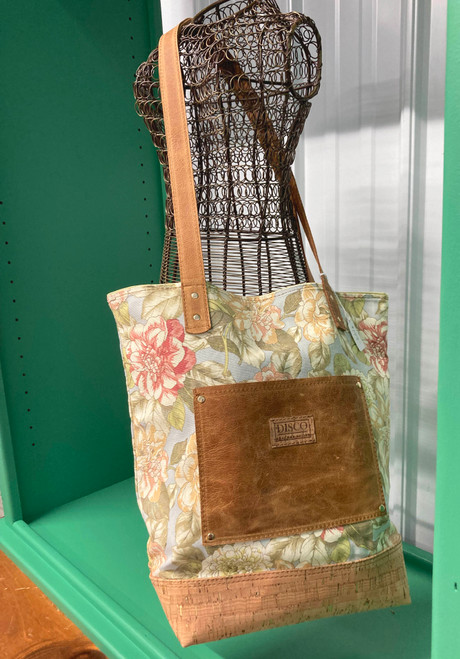 Disco Leather Tote Bag - Dusty Blue Floral