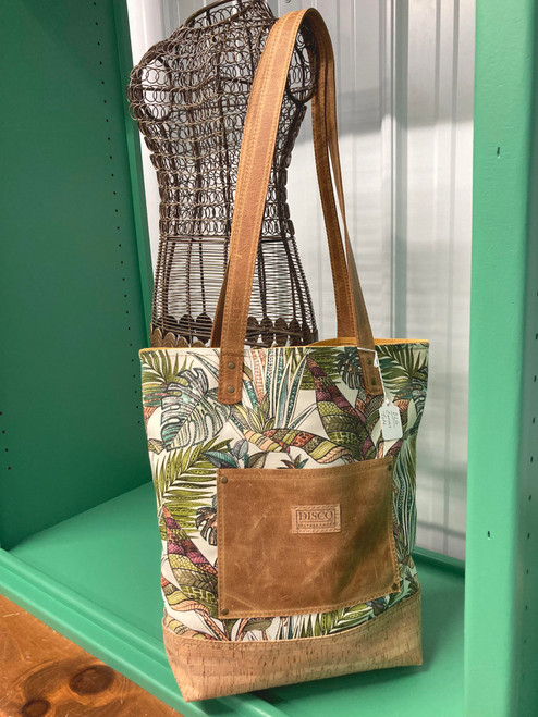 Disco Leather Tote Bag - Tropical Floral