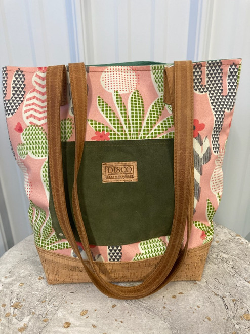 Disco Leather Tote Bag - Pink Cactus