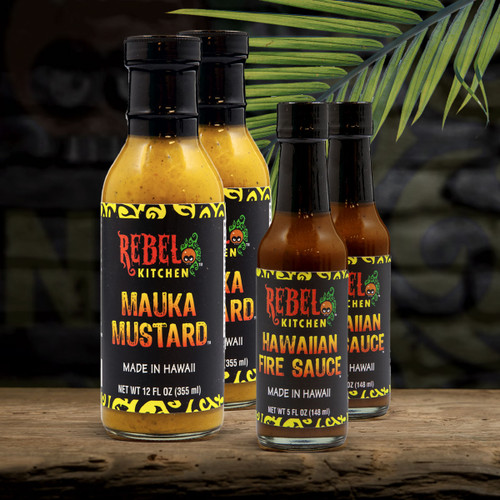 tangy and spicy pack Mauka Mustard and Hawaiian Fire Sauce