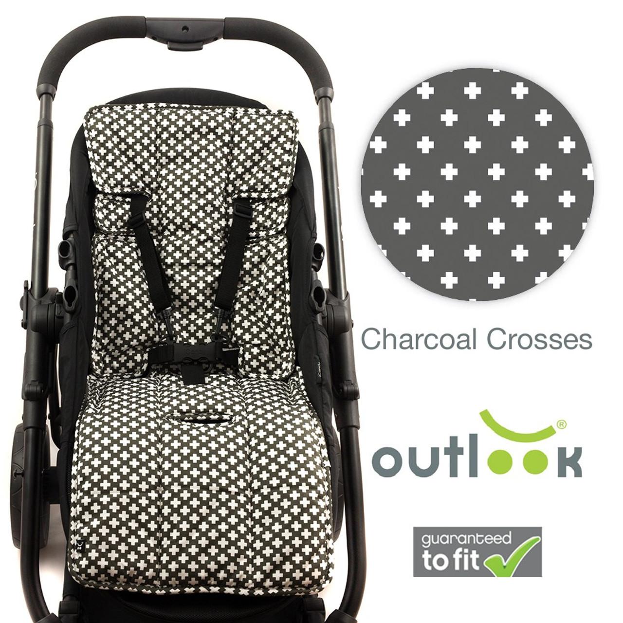 Outlook - 100% Cotton Pram Liner - Charcoal Crosses