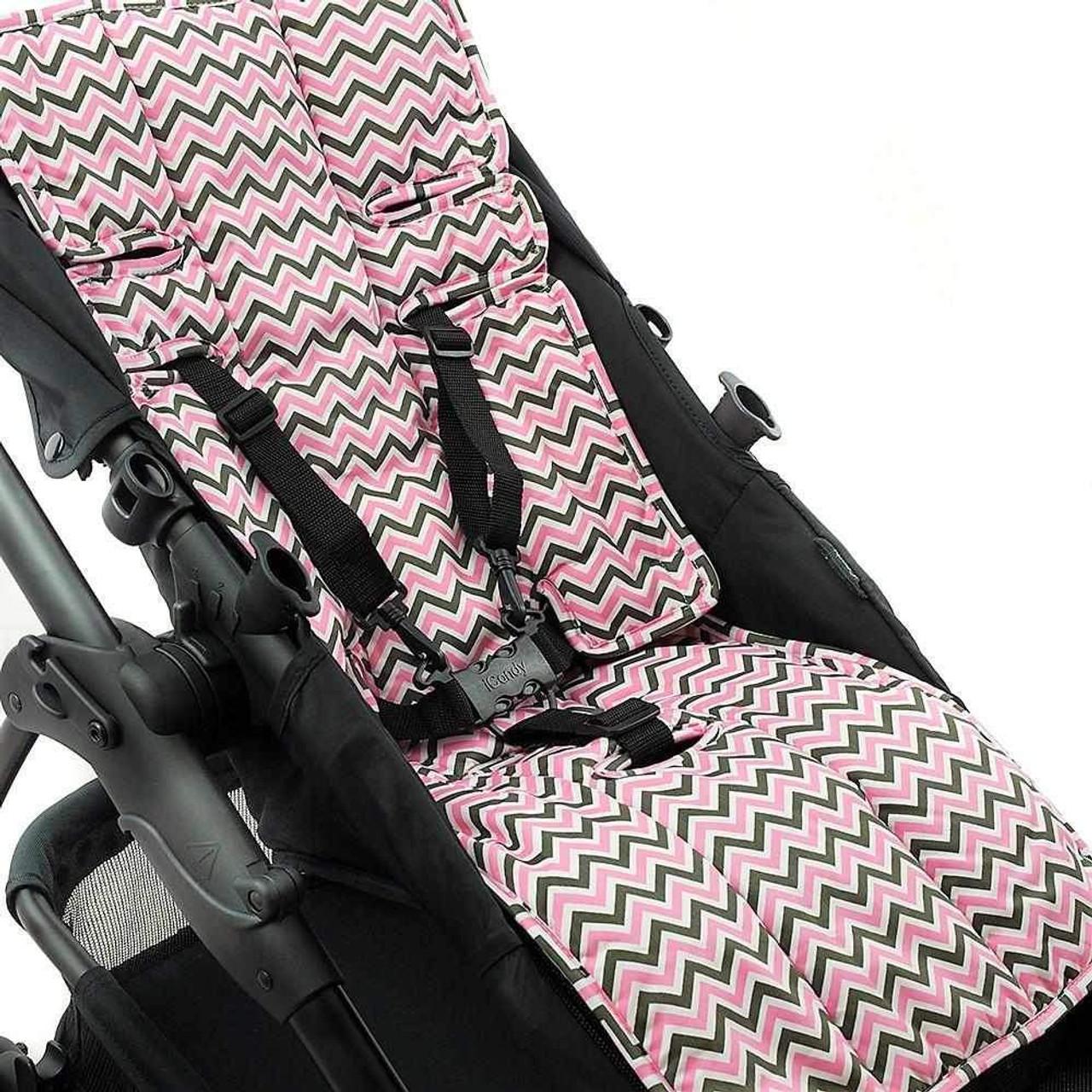 Outlook 100% Cotton Pram Liner - Charcoal/ Pink Chevron