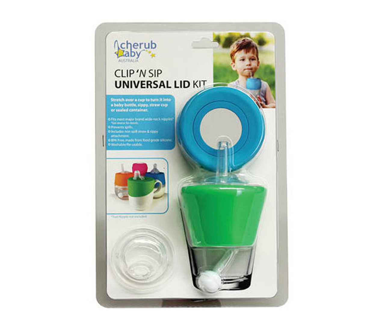 Cherub Baby Clip n Sip Universal Silicone Lid - Blue/Green