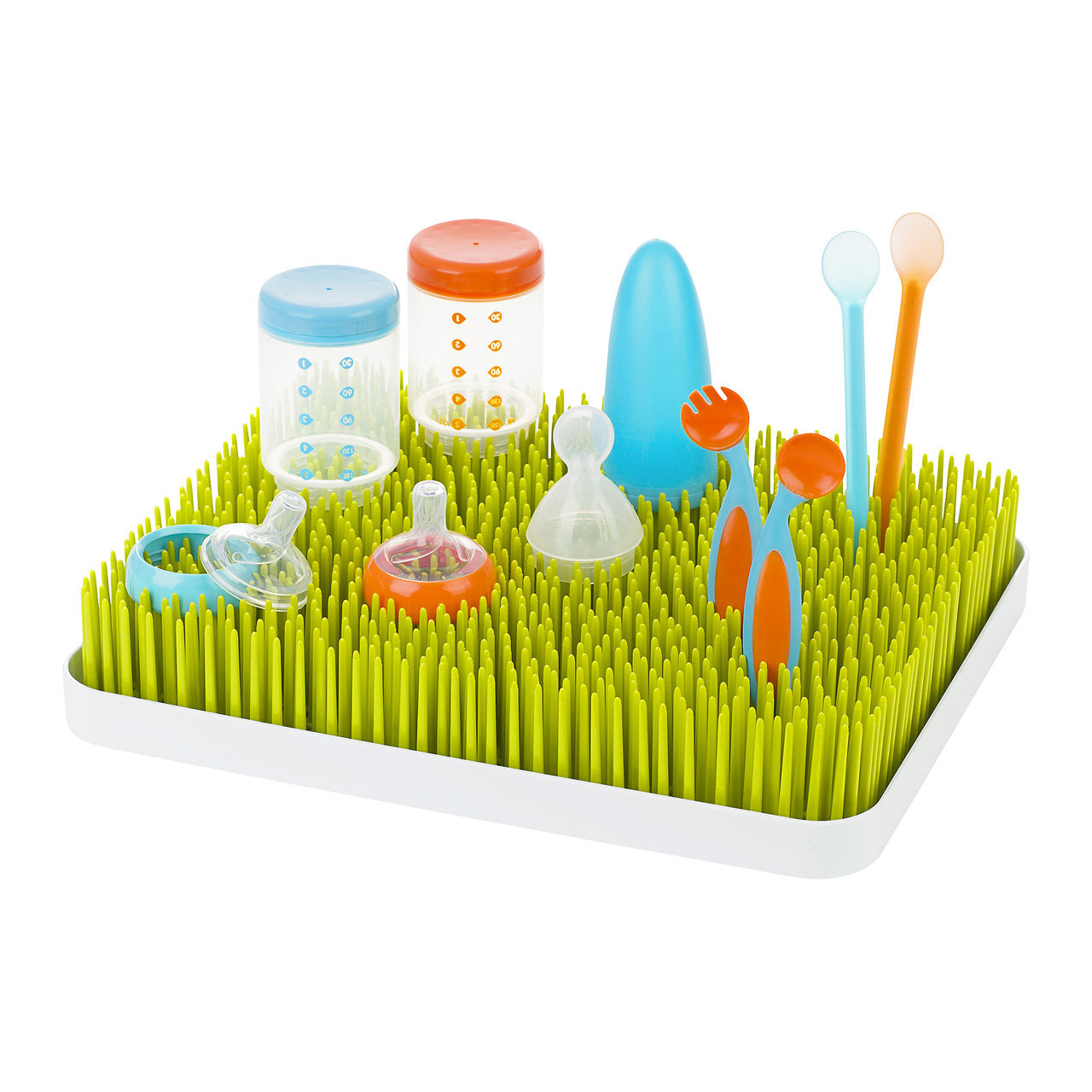 Boon Lawn Spring Countertop Bottle Drying Rack Green