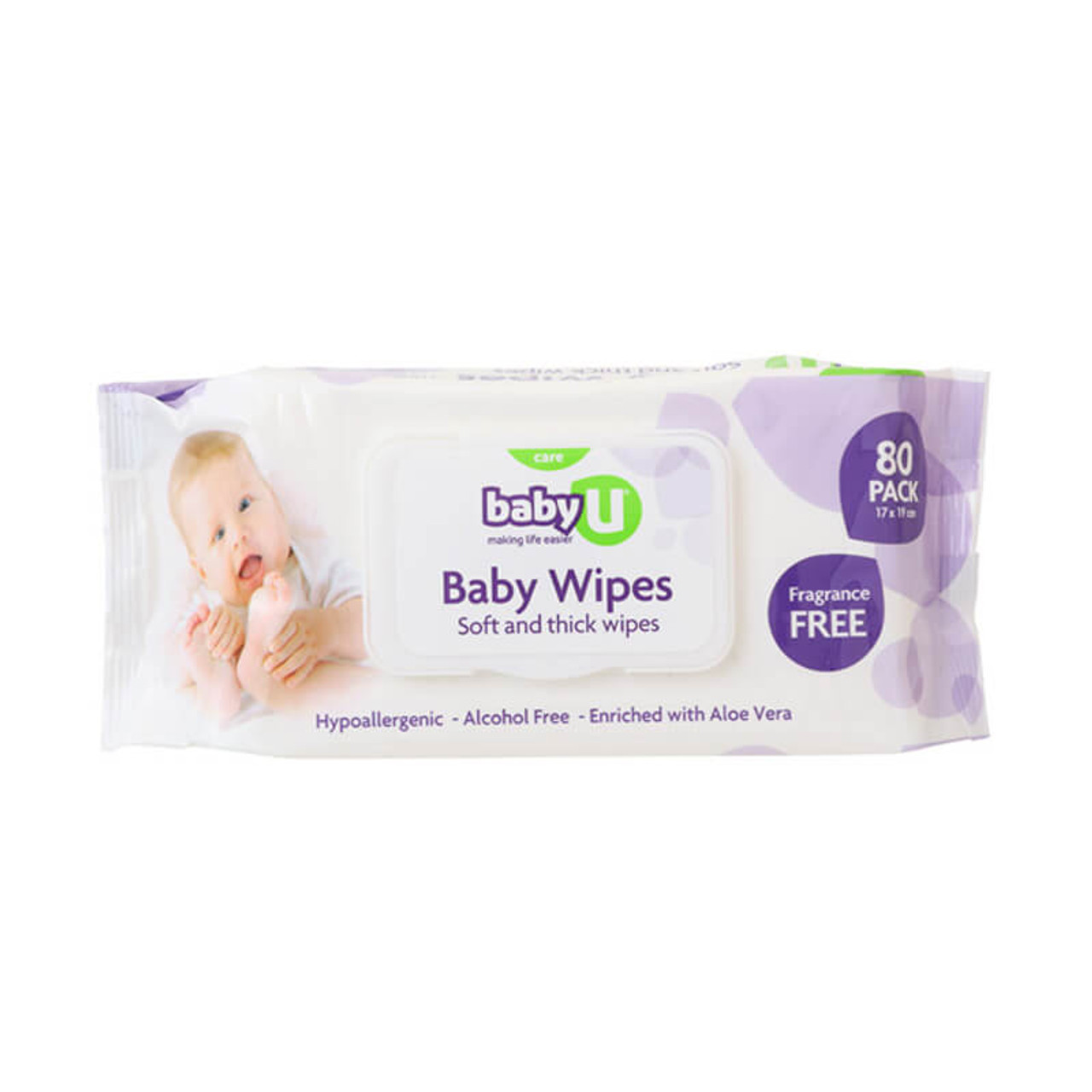 Baby U Baby Wipes Fragrance Free 80pk