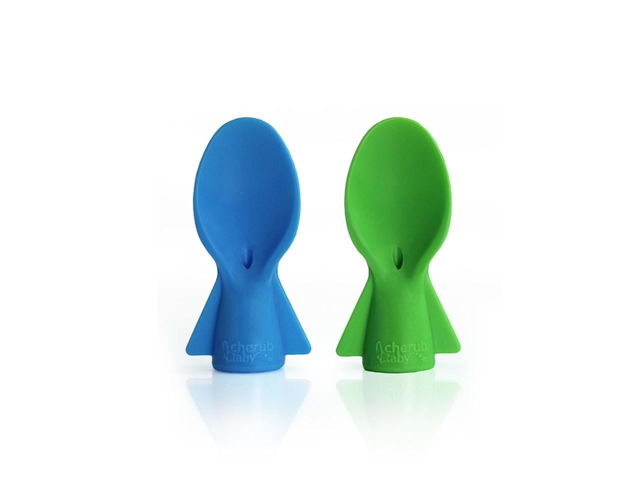 Cherub Baby Colour Change Food Pouch Spoons 2pk - BLUE/GREEN