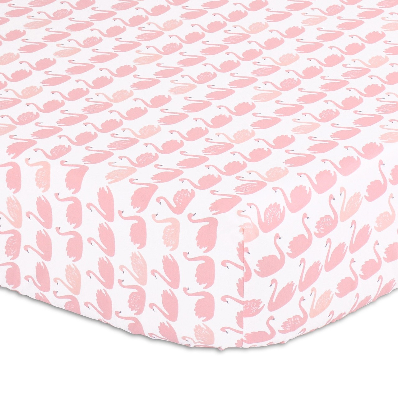 Peanutshell Large Cot Fitted Sheet - Coral Swans