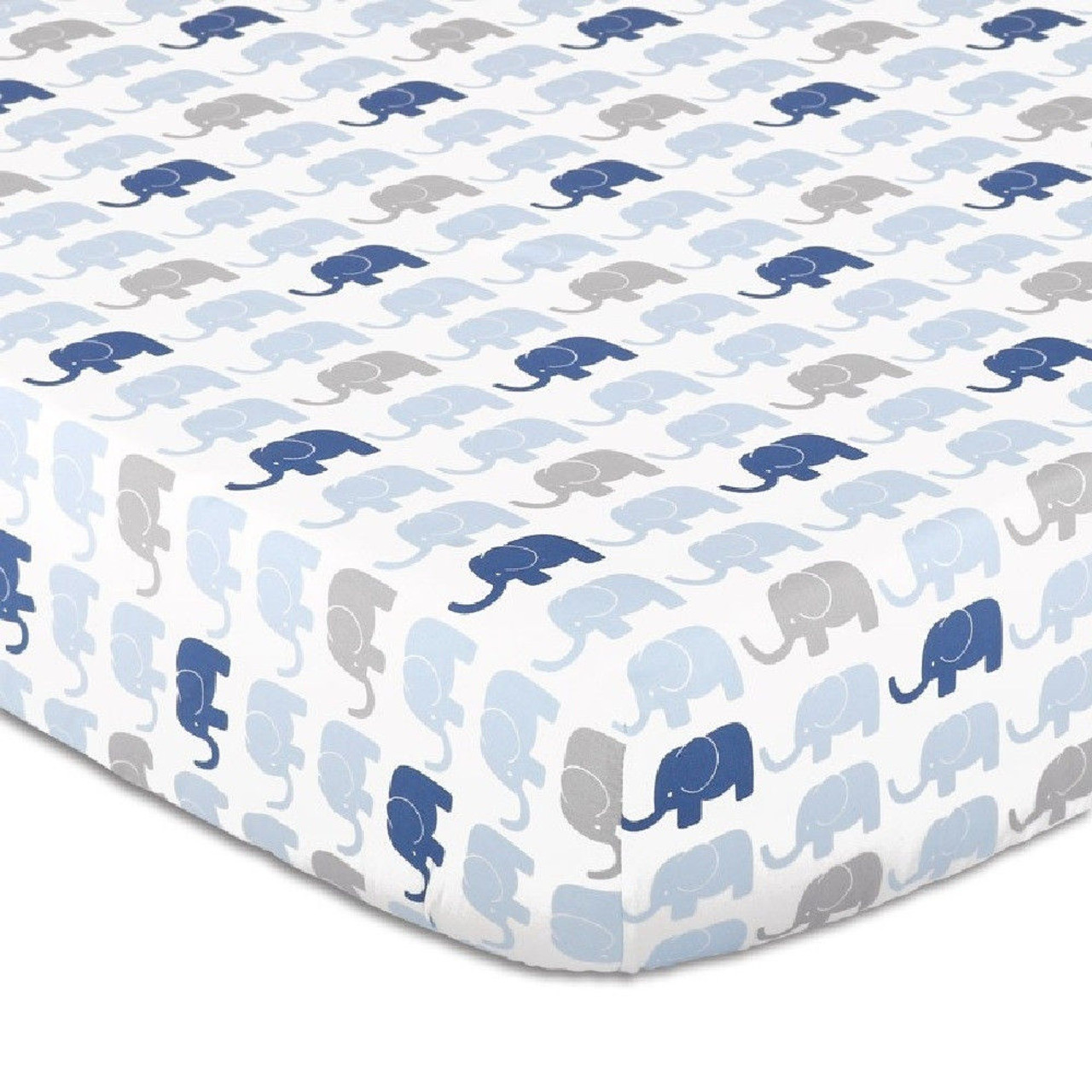 Peanutshell Large Cot Fitted Sheet - Elephant