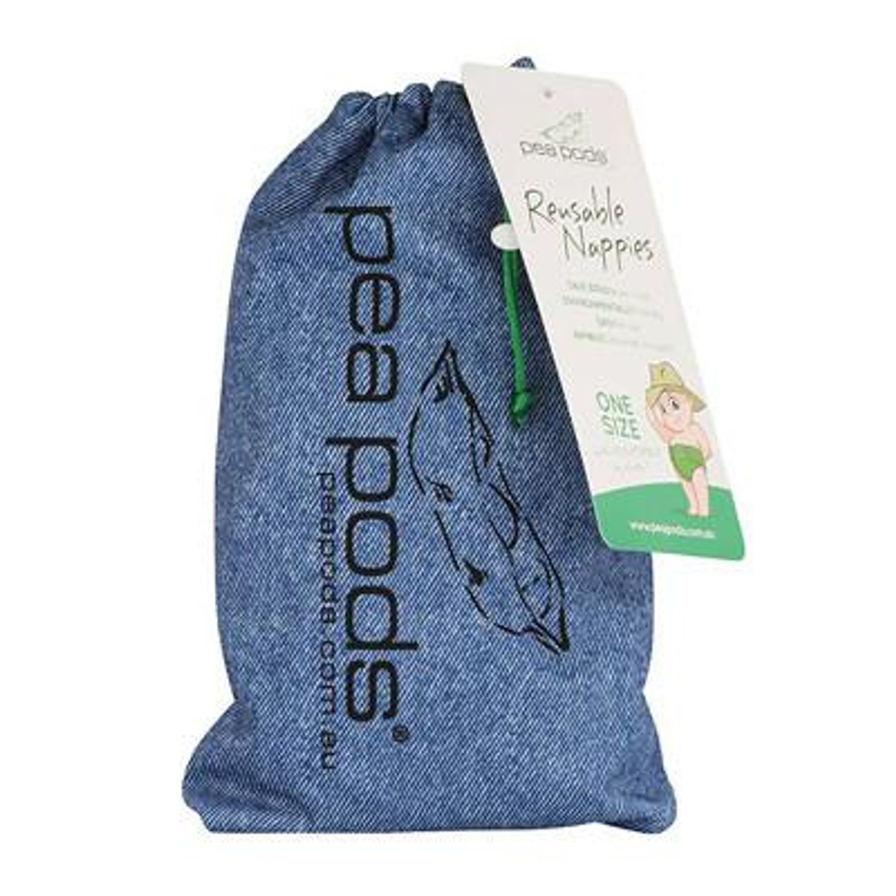 Pea Pods Modern Cloth Nappies One Size Fits Most at Baby Barn - Denim Print