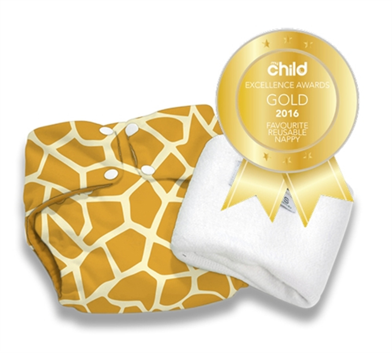 Pea Pods Modern Cloth Nappies One Size Fits Most at Baby Barn - Giraffe Print