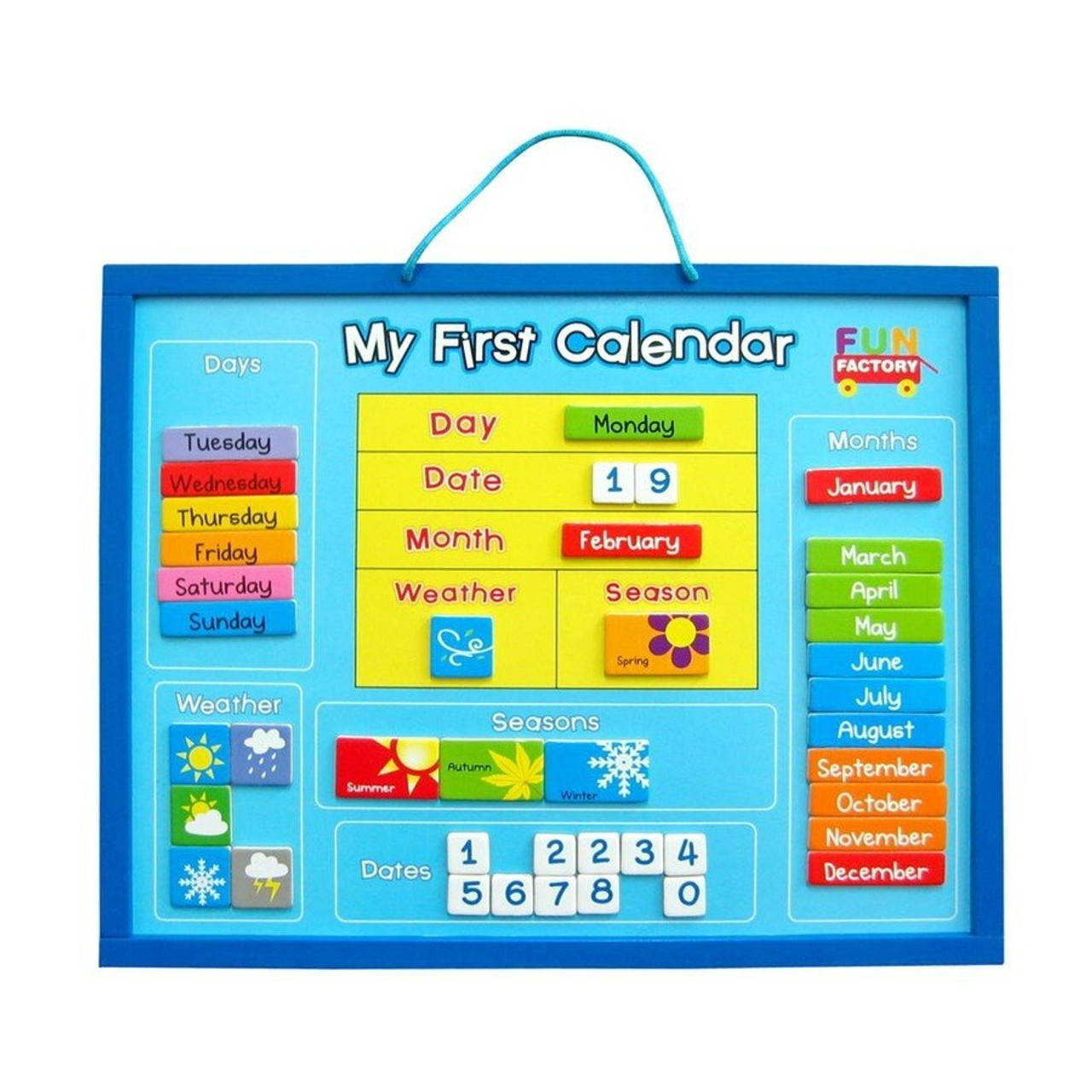 Hang My First Calendar on your wall and your child can learn about the days of the week as well as concepts related to the date, month, time, weather and 4 seasons.