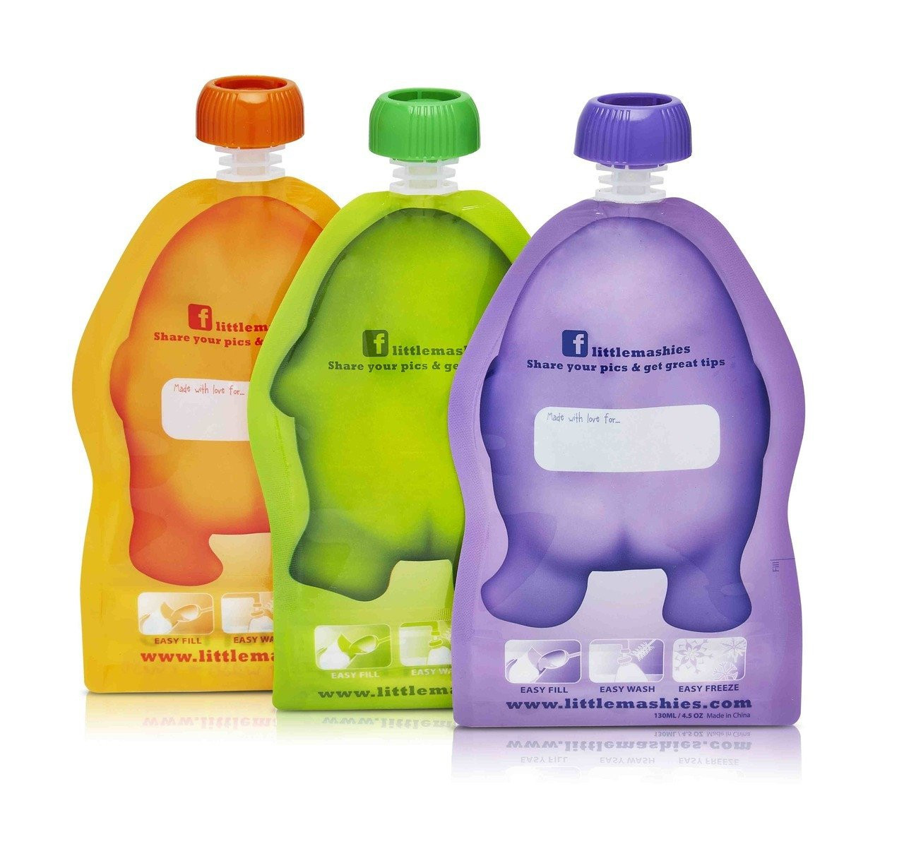 Little Mashies Reusable Squeeze Pouch Pack of 10 - BACK