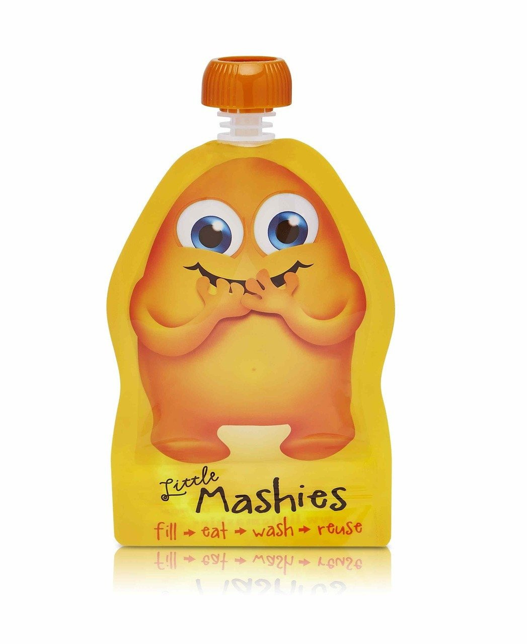 Little Mashies Reusable Squeeze Pouch Twin Pack - ORANGE