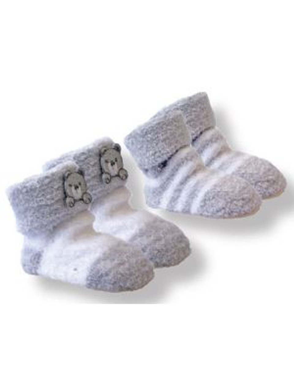 Playette 2 Pack Chenille Bootie Socks - GREY