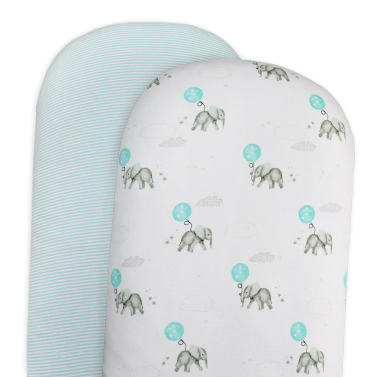 The Living Textiles 2 Pack Cotton Jersey Moses/ Pram Fitted Sheet - ELEPHANT
